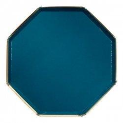 8 Platos octogonales verde tilo. 26 cms