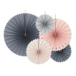 5 Abanicos de papel, en tonos rosas y grises