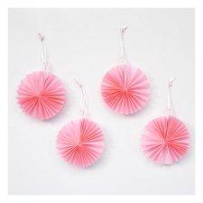 4 Mini abanicos rosa 8 cms