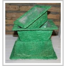Set de 3 cestos / maceteros ábaca verde