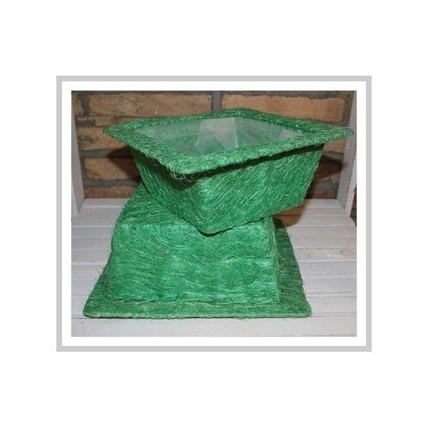 Set de 2 cestos / maceteros ábaca verde