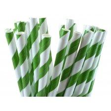 Pajitas de papel, rayas verde. 25 Uds.