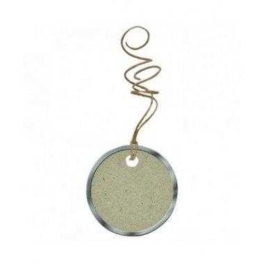 6 Etiquetas colgantes, circulares, kraft borde metal