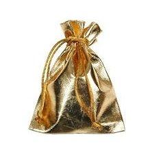 25 Bolsas lamé oro 10x12 cms