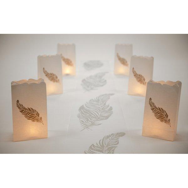 6 Bolsas de papel para velas, mod. pluma.