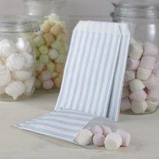 25 Sobres/bolsas de papel rayas 11.5x19.5. Azul claro.