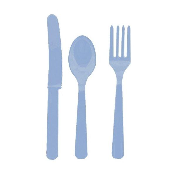 24 cubiertos de plástico surtidos. Azul claro