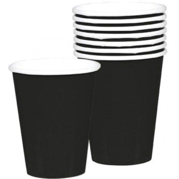8 Vasos de cartón negro