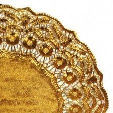 25 Blondas de papel, doradas 14 cms