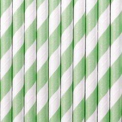 10 Pajitas de papel rayas verde agua-mint.