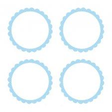 20 Etiquetas adhesiva, festón azul