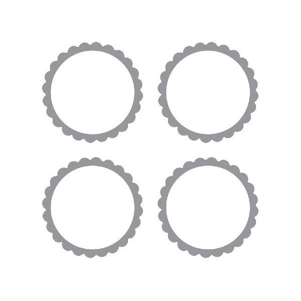 20 Etiquetas adhesiva, festón plata