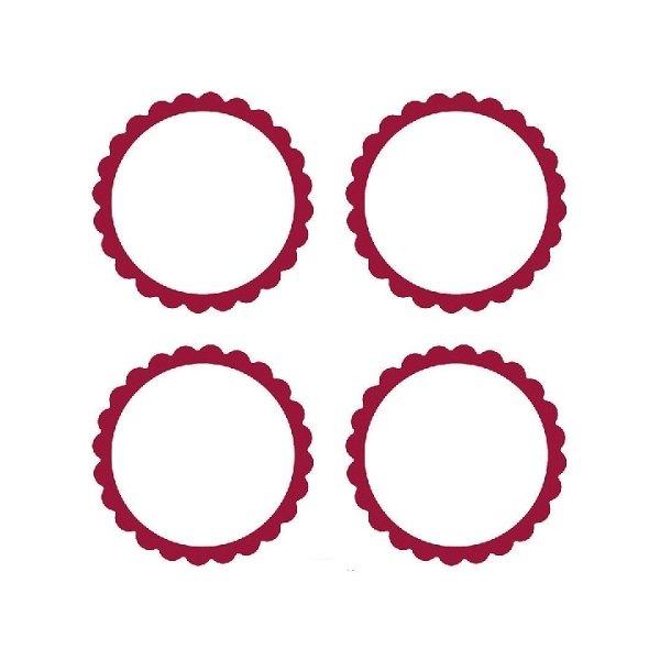 20 Etiquetas adhesiva, festón rojo