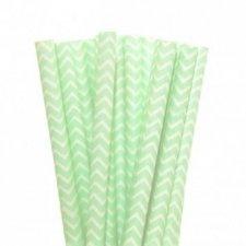 25 Pajitas de papel, chevron verde agua - mint.