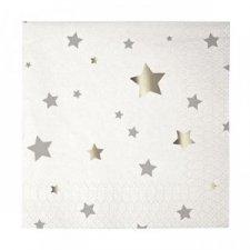16 Servilletas estrellas plateadas.