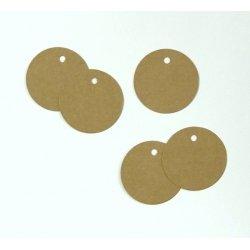 15 Etiquetas colgantes, redondas, kraft de 4 cms