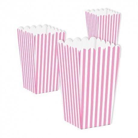 3 Cajas para palomitas. Mini raya rosa