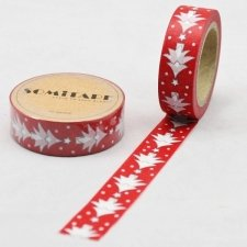 Washi tape, ABETO FONDO ROJO. 15 mm x 10 m.