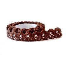 Lace tape - puntilla adhesiva. Crochet marrón. 15mmx2 m Aprox.