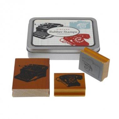 3 Sellos de caucho, vintage en caja metálica