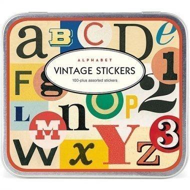 100 adhesivos Alfabeto vintage. Caja metálica