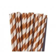 25 Pajitas de papel rayas marrones.