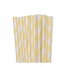 25 Pajitas de papel rayas marfil.