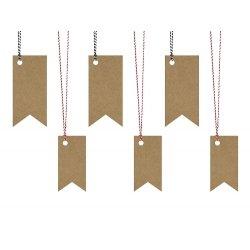 6 Etiquetas colgante, banderines kraft