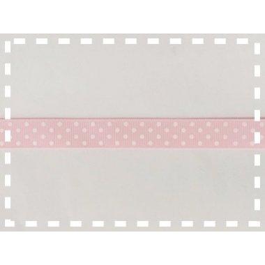 Cinta de regalo, otomán rosa, lunar blanco 15mm x 10 m.