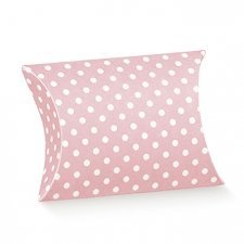 25 Cajas de regalo, petaca lunares rosa 7x7x2.5 cms. Agotado