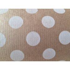 Bobina de papel de regalo, kraft gran lunar blanco