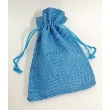 10 Sacos de tela rústica 9.5x13.5 cms. Azul.