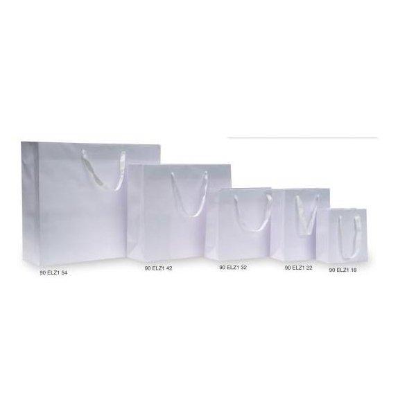 4 Bolsas de papel, lujo blanco. 22x10x27 cms