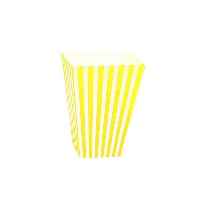6 Cajas para palomitas. Rayas amarillo