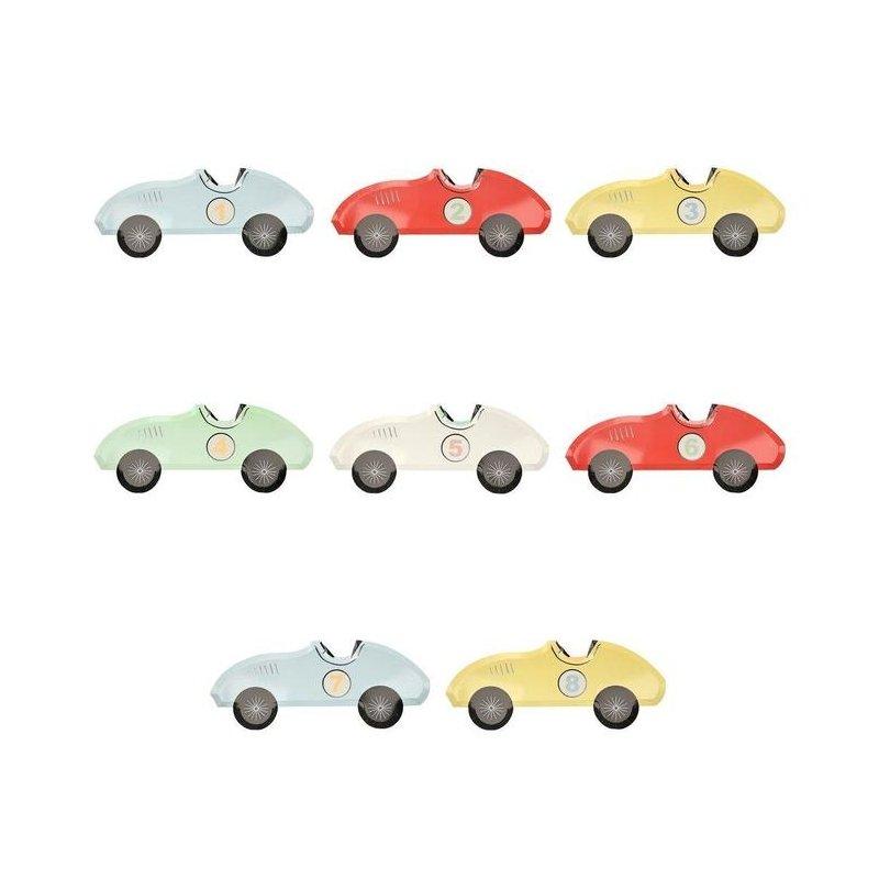 8 Platos de papel en forma de coche