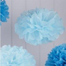 5 Pompones en 2 tonos de azul.