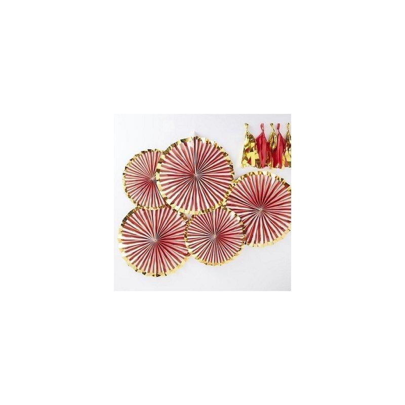 5 Abanicos de papel, rayas rojas con filo dorado