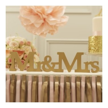 Letras doradas Mr and Mrs.