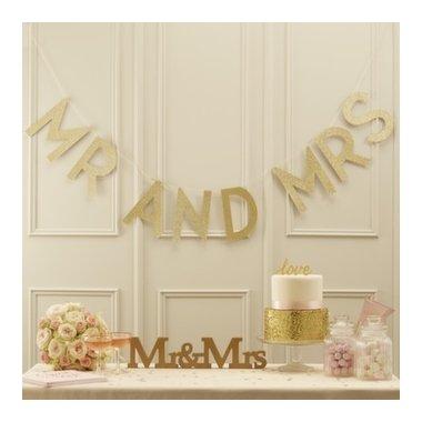 Guirnalda con letras oro glitter. Mr and Mrs