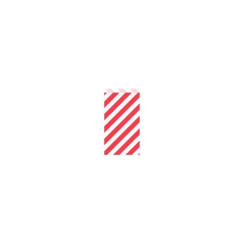 25 Sobres/bolsas de papel rayas rojas 12x5x18 cms