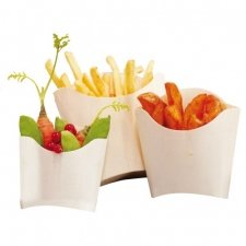 10 Cajas de madera para patatas fritas y chuches.