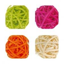 12 Bolas de rattan, 3 cms. Varios colores