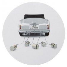 50 Etiquetas adhesivas -Just married coche- 3 cms