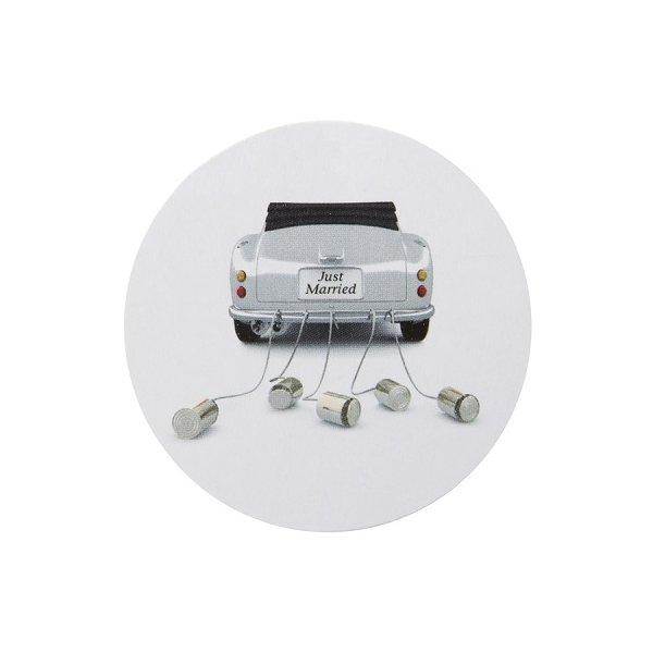 50 Etiquetas adhesivas -Just married coche- 3 cms