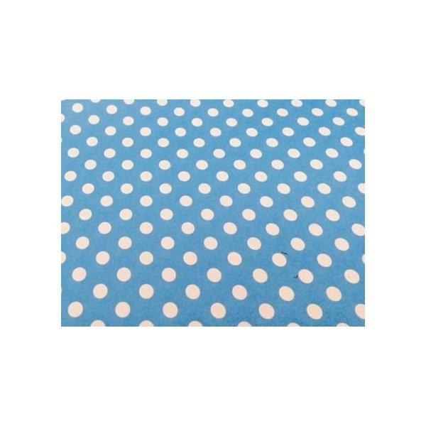 3 Hojas de papel para regalo, azul con lunares blancos