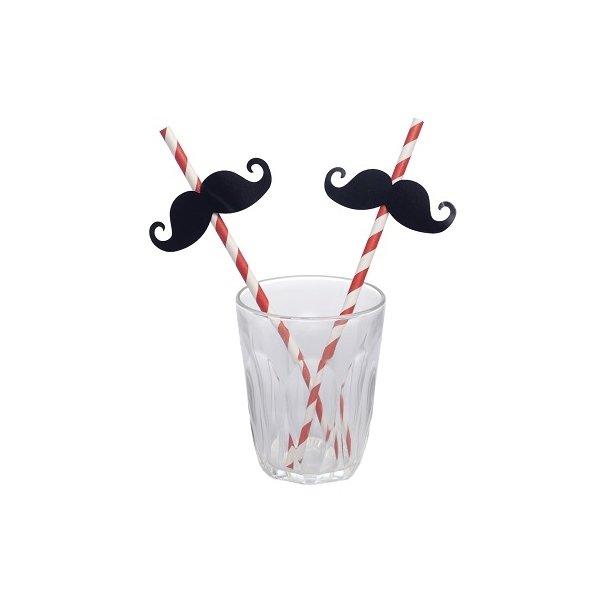 12 Pajitas espiral rojo con bigotes