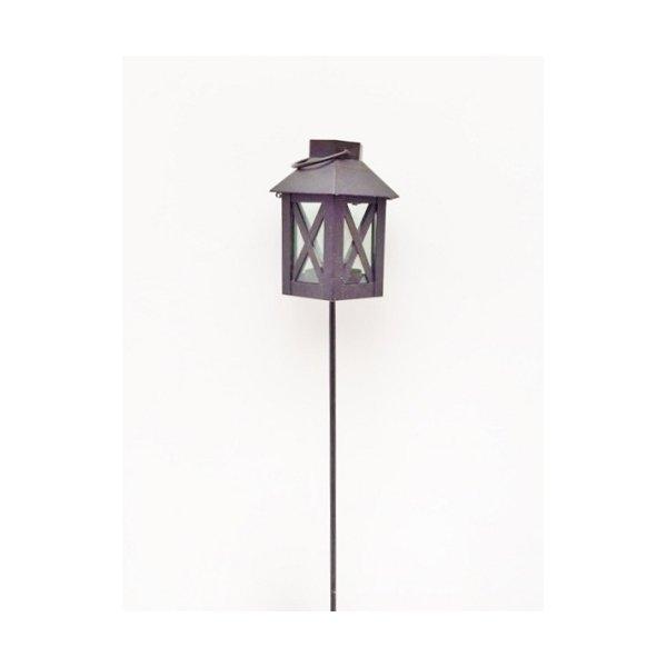 Farol de hierro negro con pincho - Portavelas de hierro ...