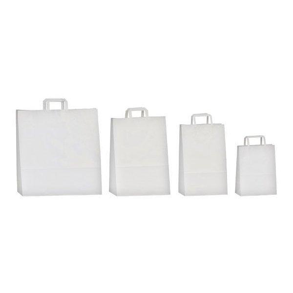 50 Bolsas de papel blanco 18x10x23. Asa plana