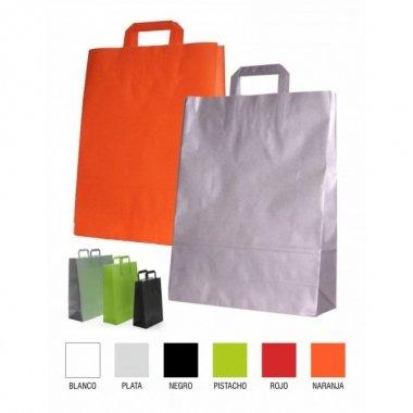 50 Bolsas de papel, 18x10x23 asa plana, Varios colores