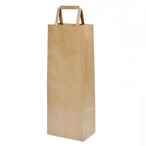 25 Bolsas de papel kraft14x9x36 cms, asa plana